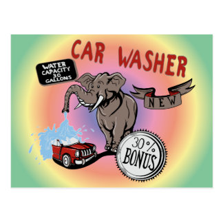 Elephant Car Washer - Funny New Invention Postcard