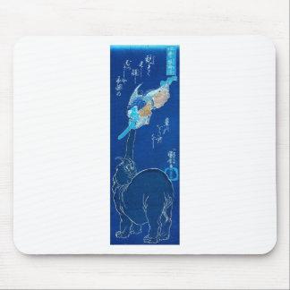 Elephant catching a flying Tengu. Circa 1800's Mouse Pad