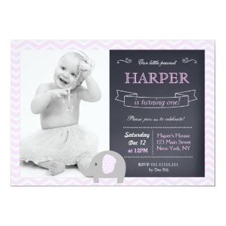 "Elephant Chalkboard Birthday Party Invitations 5"" X 7"" Invitation Card"