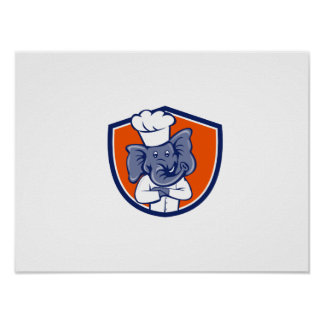 Elephant Chef Arms Crossed Crest Cartoon Poster
