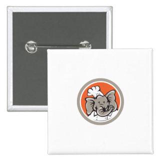 Elephant Chef Head Cartoon Badge