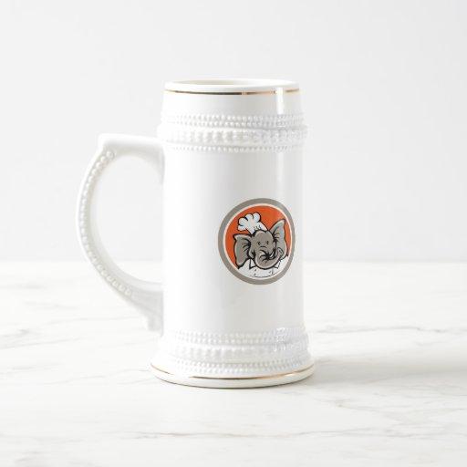 Elephant Chef Head Cartoon Coffee Mugs