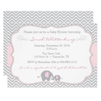 Elephant Chevron Baby Shower Invitation - Pink
