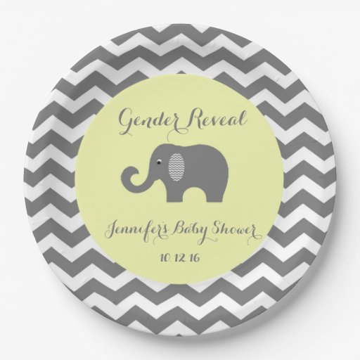 elephant chevron baby shower plates gender reveal paper plate
