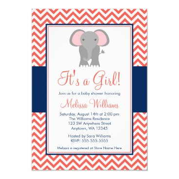 Toddler & Baby themed Elephant Chevron Coral Navy Blue Girl Baby Shower Card