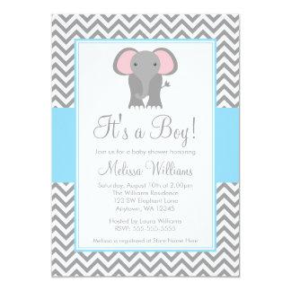Elephant Chevron Light Blue Gray Baby Shower Card