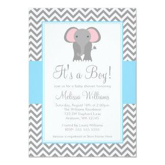 Elephant Chevron Light Blue Gray Baby Shower 4.5x6.25 Paper Invitation Card