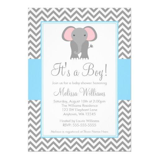 elephant chevron light blue gray baby shower 5 x 7 invitation car