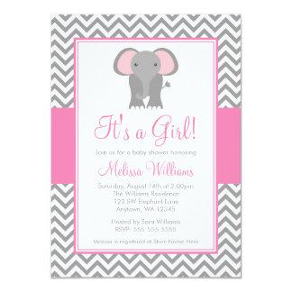 Elephant Chevron Pink Gray Girl Baby Shower 4.5x6.25 Paper Invitation Card