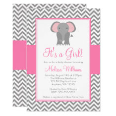 Elephant Chevron Pink Gray Girl Baby Shower Card at Zazzle