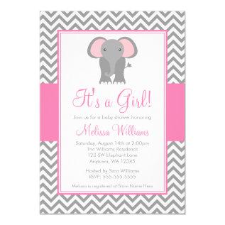 Elephant Chevron Pink Gray Girl Baby Shower Card at Zazzle