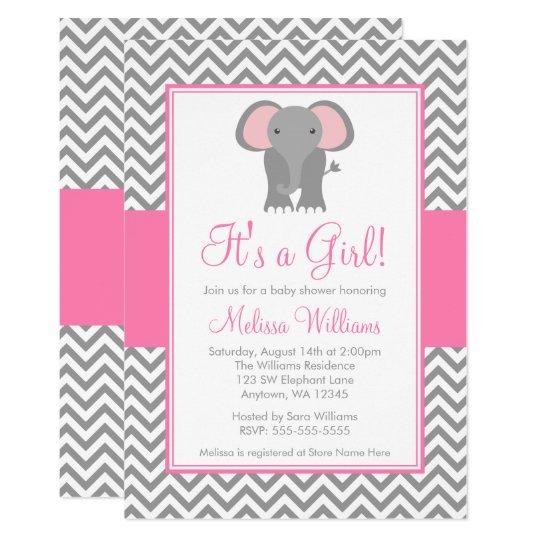 Elephant Chevron Pink Gray Girl Baby Shower Invitation Zazzle