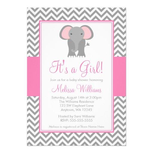 Elephant Chevron Pink Gray Girl Baby Shower Invitations