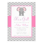 Elephant Chevron Pink Gray Girl Baby Shower Invitations