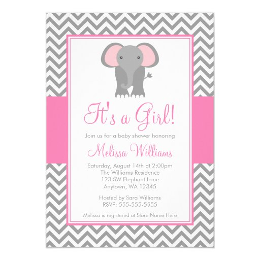 elephant chevron pink gray girl baby shower 5x7 paper invitation card