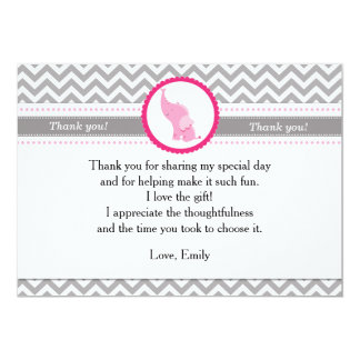 Elephant Chevron Pink Thank You Card