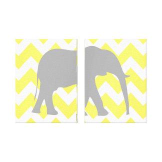 Elephant Chevron Yellow and Gray Halves Set Canvas Print