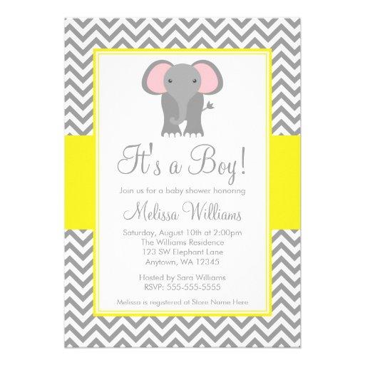 Elephant Chevron Yellow Gray Baby Shower Custom Invitation