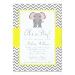 Elephant Chevron Yellow Gray Baby Shower 5x7 Paper Invitation Card