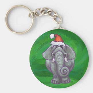 Elephant Christmas On Green Keychain