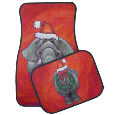 Christmas Themed Elephant Christmas On Red Car Floor Mat