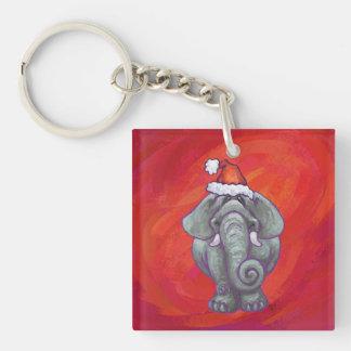 Elephant Christmas On Red Keychain