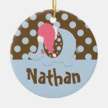 Elephant Christmas Ornament Blue/Brown
