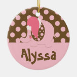 Elephant Christmas Ornament Pink/Brown
