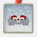 Elephant Christmas Square Metal Christmas Ornament