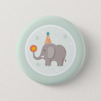 Elephant Circus Birthday Party Button