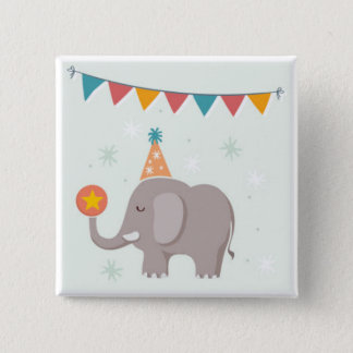 Elephant Circus Birthday Party Favor Pinback Button