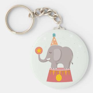 Elephant Circus Birthday Party Keychain