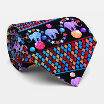 Elephant Circus Diamonds Stripes Pattern Tie