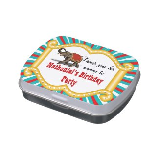 Elephant Circus Frame Kids Boys Birthday Party Jelly Belly Tins