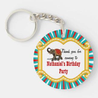 Elephant Circus Frame Kids Boys Birthday Party Keychain