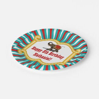 Elephant Circus Frame Kids Boys Birthday Party Paper Plate