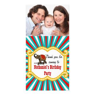 Elephant Circus Frame Kids Boys Birthday Party Photo Card
