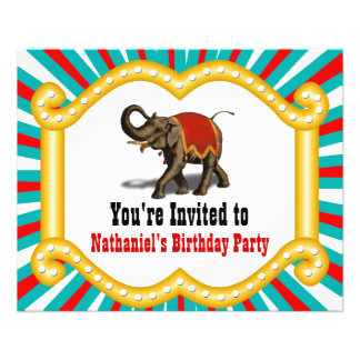Elephant Circus Kids Birthday Party Invitation Flyer