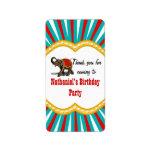 Elephant Circus Kids Boys Birthday Party Favor Label