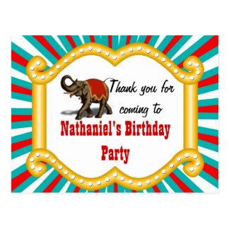 Elephant Circus Kids Boys Birthday Thank You Postcard