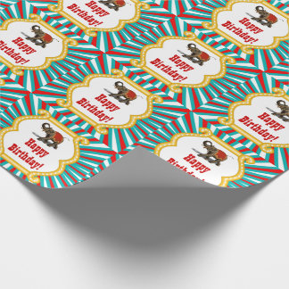Elephant Circus Kids Boys Happy Birthday Wrapping Paper