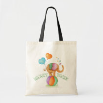 Elephant circus watercolor art name library bag
