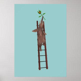 Elephant climbing a ladder poster