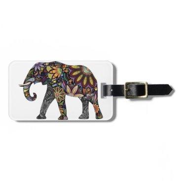 CustomCreationsStore Elephant Colorful Luggage Tag