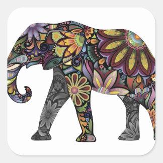 Elephant Colorful Square Sticker