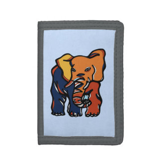 """Elephant Colorful"" TriFold Nylon Wallet"