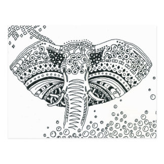 elephant coloring postcard gift