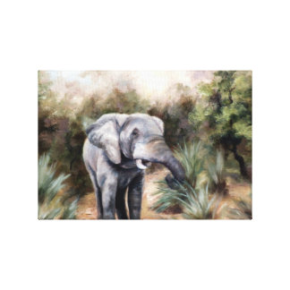 Elephant Coming Through Wrapped Canvas Print