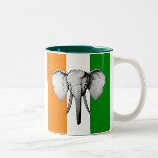 Elephant cote d ivore Ivory Coast gifts Two-Tone Coffee Mug
