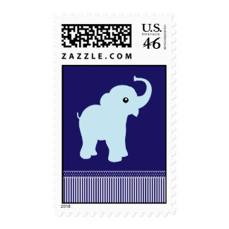 Elephant cute polka dots and stripes blue postage